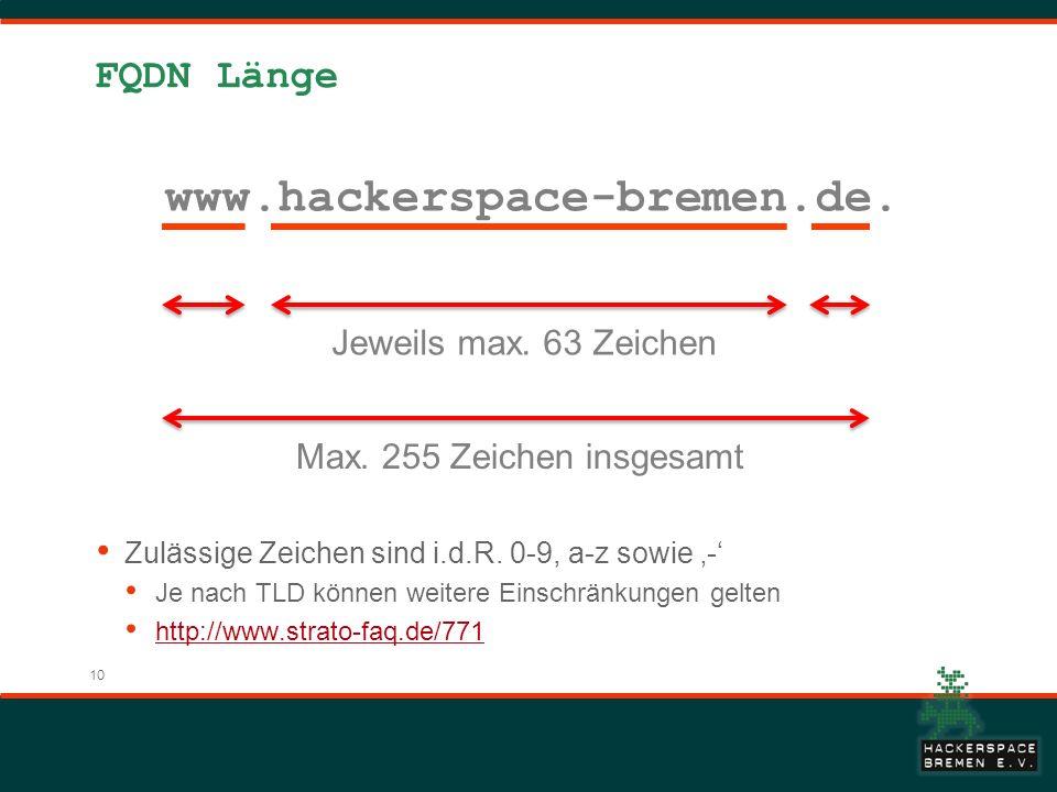 www.hackerspace-bremen.de. FQDN Länge Jeweils max. 63 Zeichen