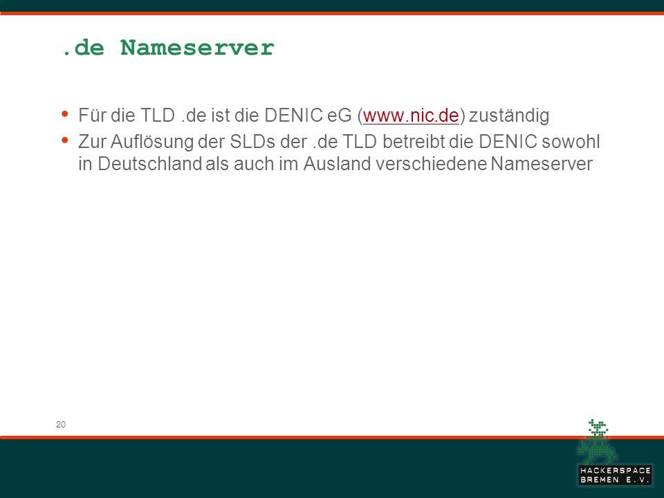 .de Nameserver Für die TLD .de ist die DENIC eG (www.nic.de) zuständig