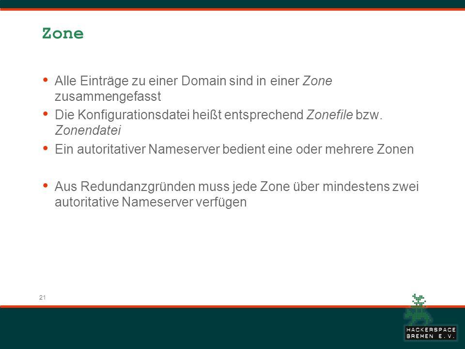 Zone Alle Einträge zu einer Domain sind in einer Zone zusammengefasst