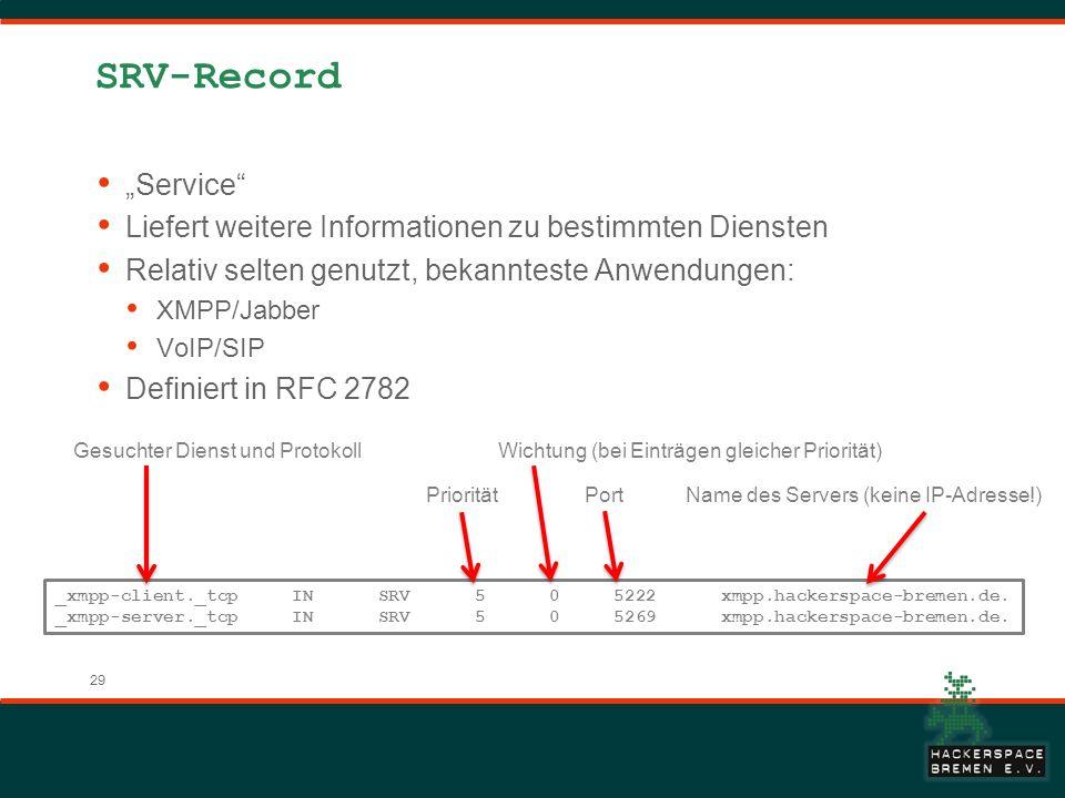 """SRV-Record """"Service Liefert weitere Informationen zu bestimmten Diensten. Relativ selten genutzt, bekannteste Anwendungen:"""