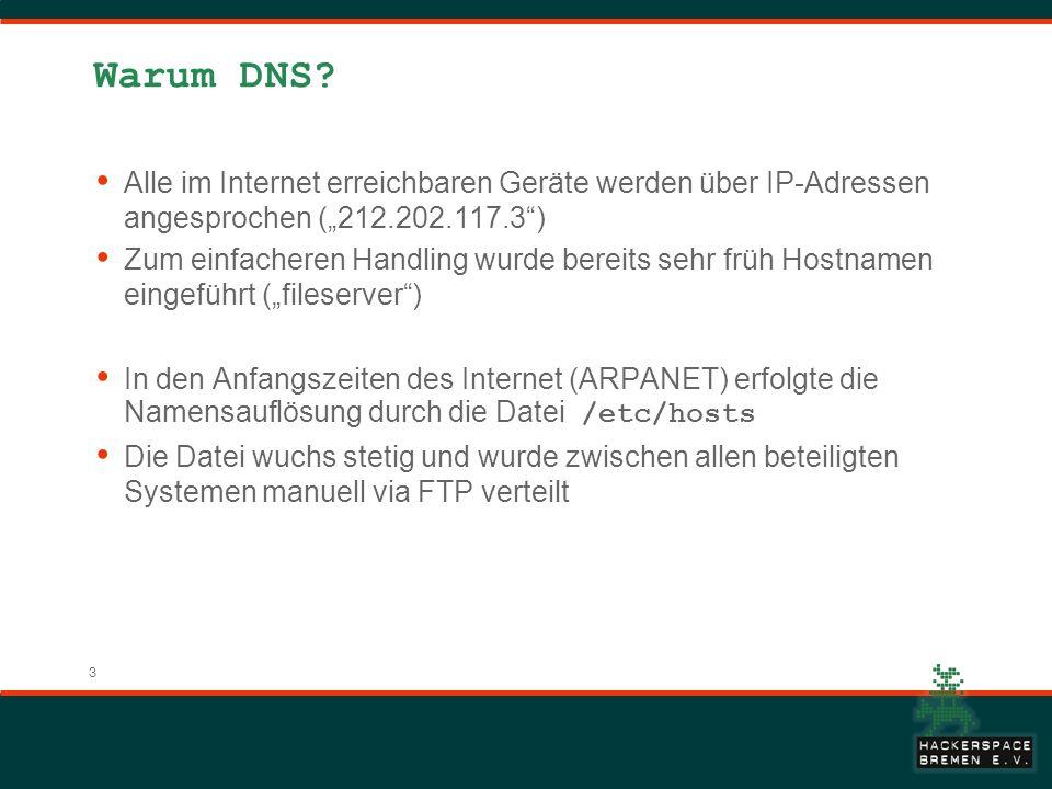 """Warum DNS Alle im Internet erreichbaren Geräte werden über IP-Adressen angesprochen (""""212.202.117.3 )"""
