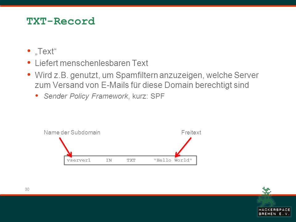 """TXT-Record """"Text Liefert menschenlesbaren Text"""