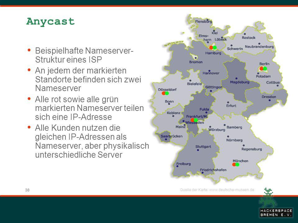 Anycast Beispielhafte Nameserver-Struktur eines ISP