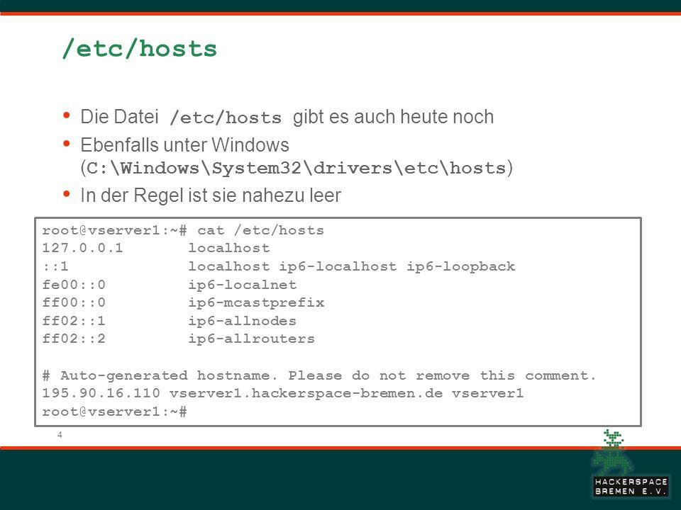 /etc/hosts Die Datei /etc/hosts gibt es auch heute noch