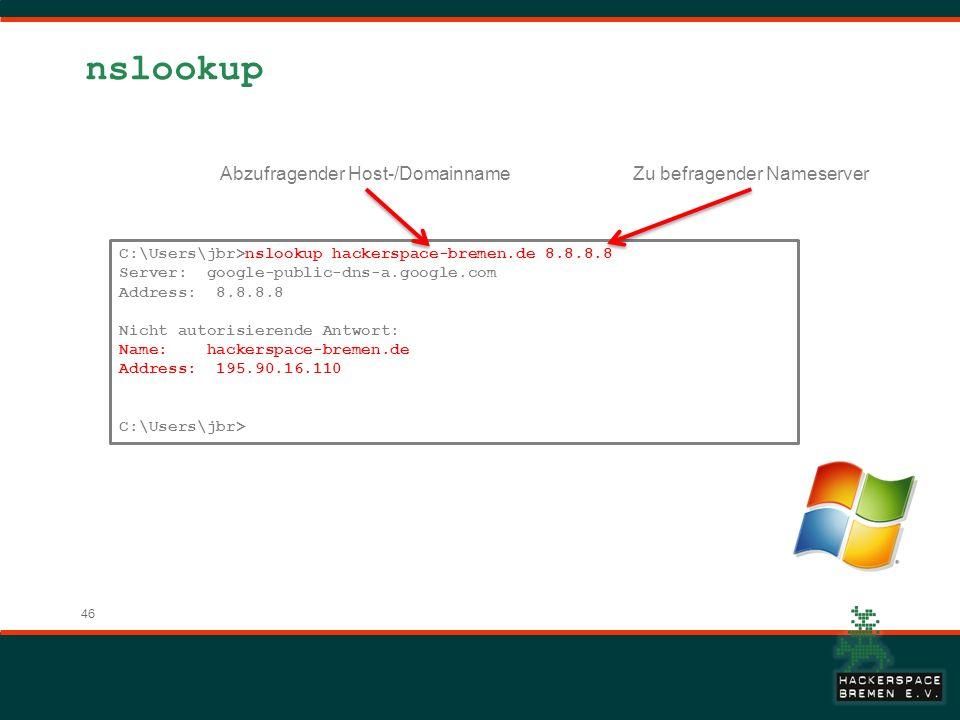 nslookup Abzufragender Host-/Domainname Zu befragender Nameserver