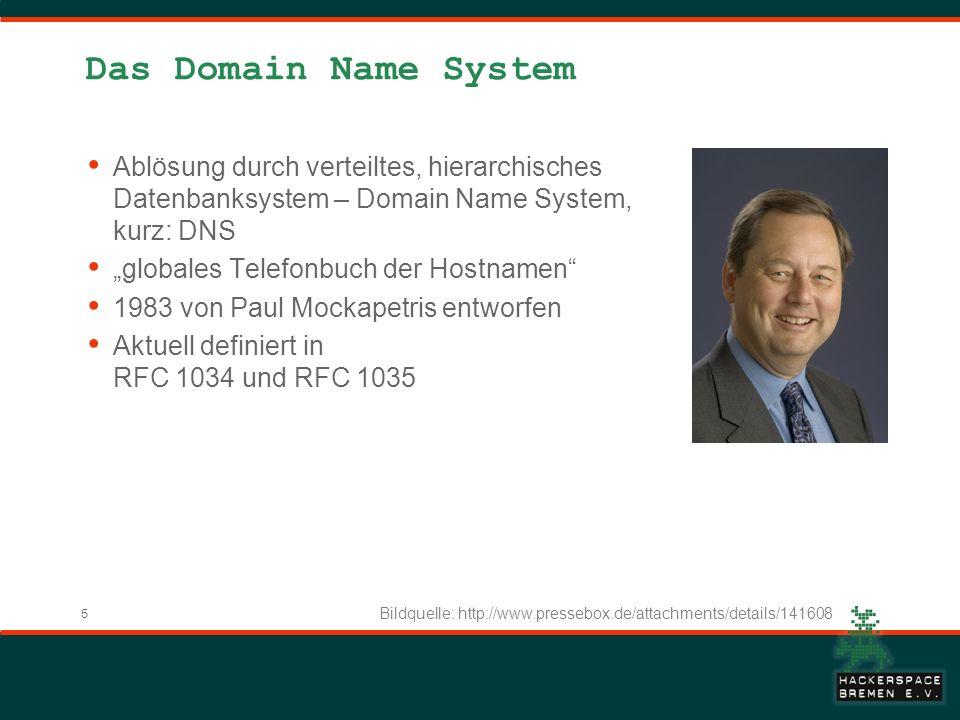 Das Domain Name System Ablösung durch verteiltes, hierarchisches Datenbanksystem – Domain Name System, kurz: DNS.
