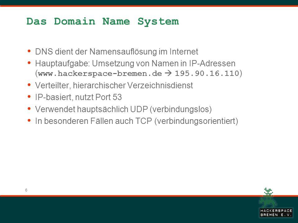 Das Domain Name System DNS dient der Namensauflösung im Internet