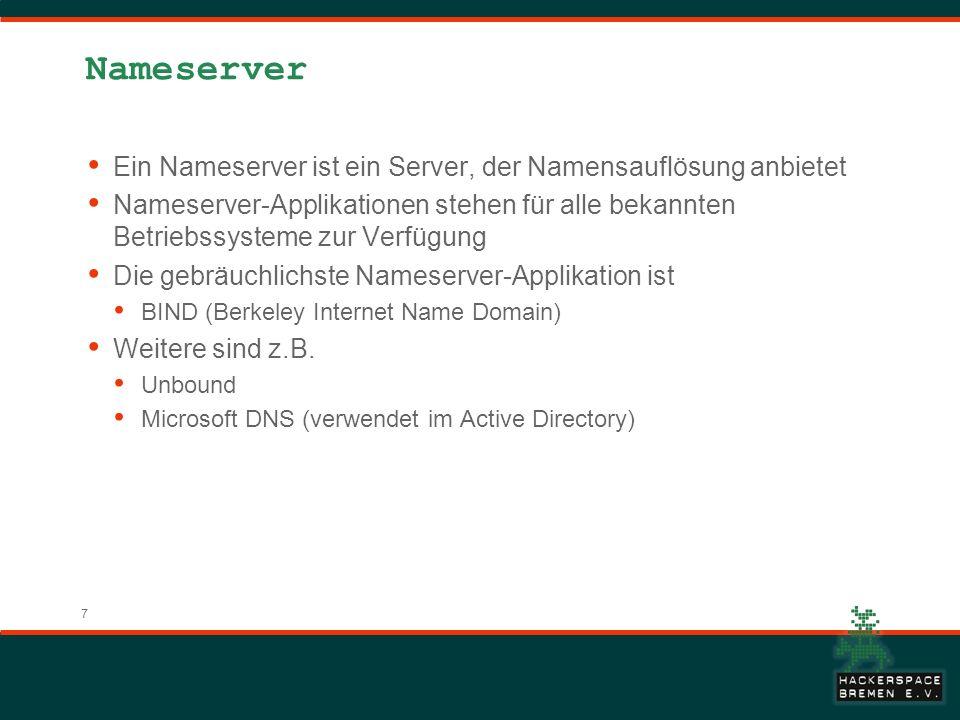 Nameserver Ein Nameserver ist ein Server, der Namensauflösung anbietet