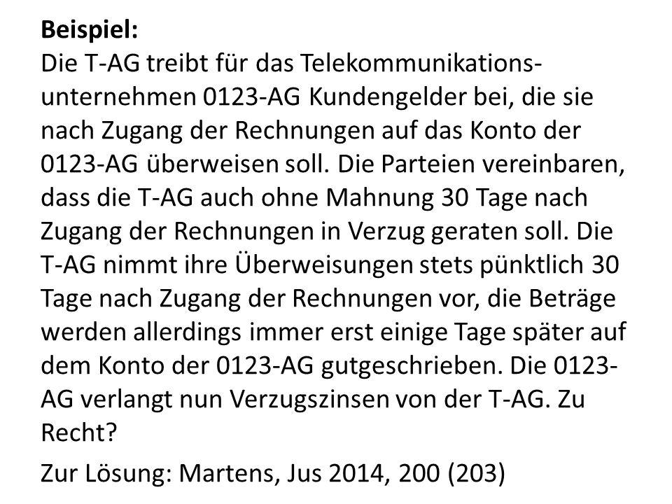 Beispiel: Die T-AG treibt für das Telekommunikations-unternehmen 0123-AG Kundengelder bei, die sie nach Zugang der Rechnungen auf das Konto der 0123-AG überweisen soll.