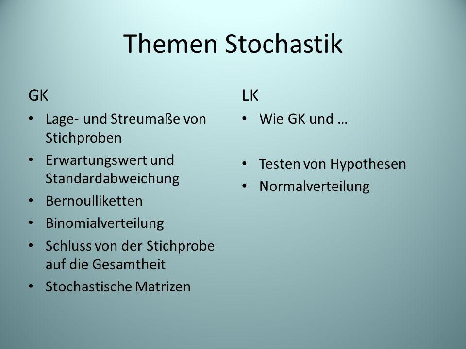 Themen Stochastik GK LK Lage- und Streumaße von Stichproben