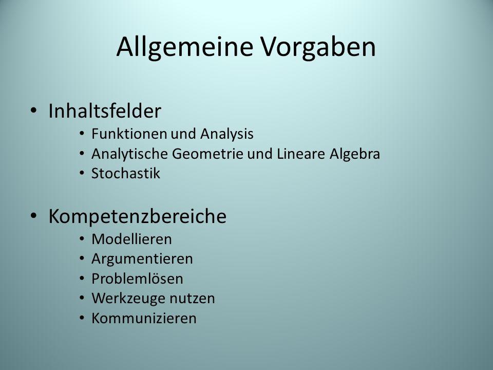 Allgemeine Vorgaben Inhaltsfelder Kompetenzbereiche