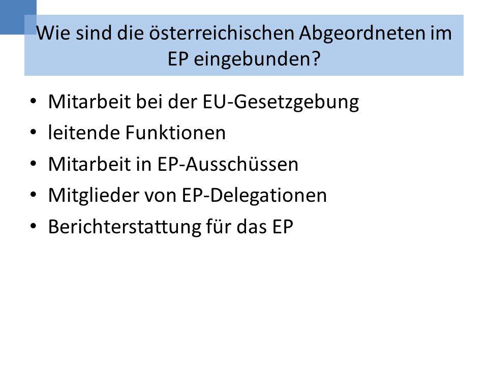 Wie sind die österreichischen Abgeordneten im EP eingebunden