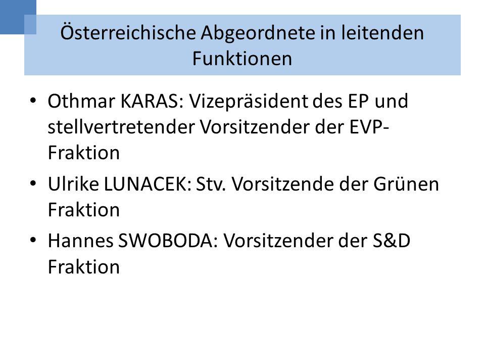 Österreichische Abgeordnete in leitenden Funktionen