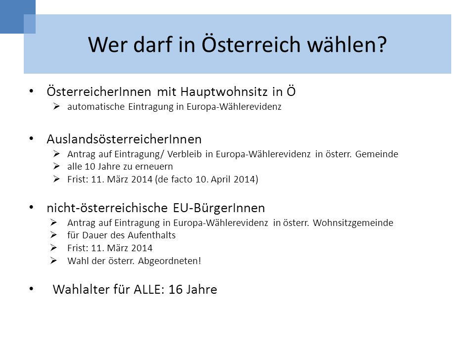 Wer darf in Österreich wählen