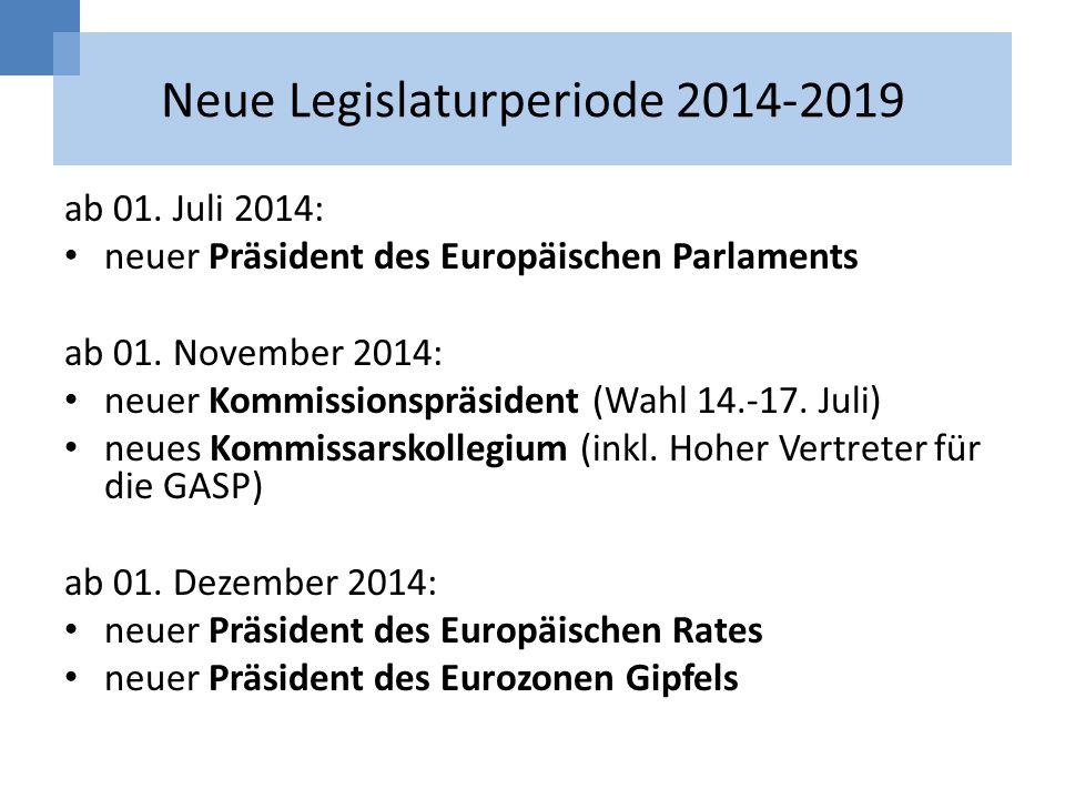 Neue Legislaturperiode 2014-2019