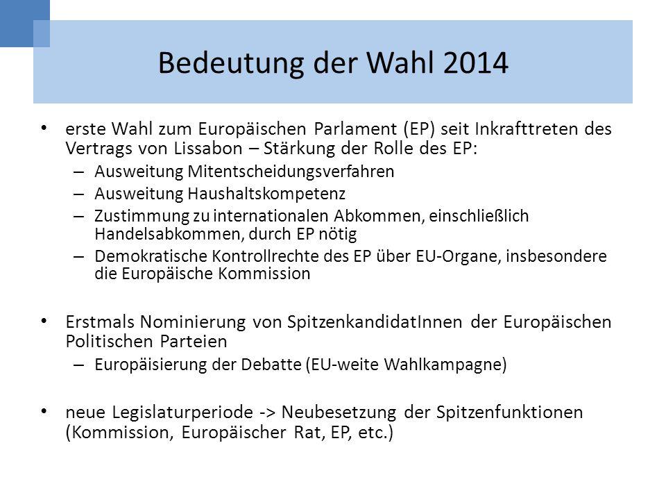 Bedeutung der Wahl 2014 erste Wahl zum Europäischen Parlament (EP) seit Inkrafttreten des Vertrags von Lissabon – Stärkung der Rolle des EP: