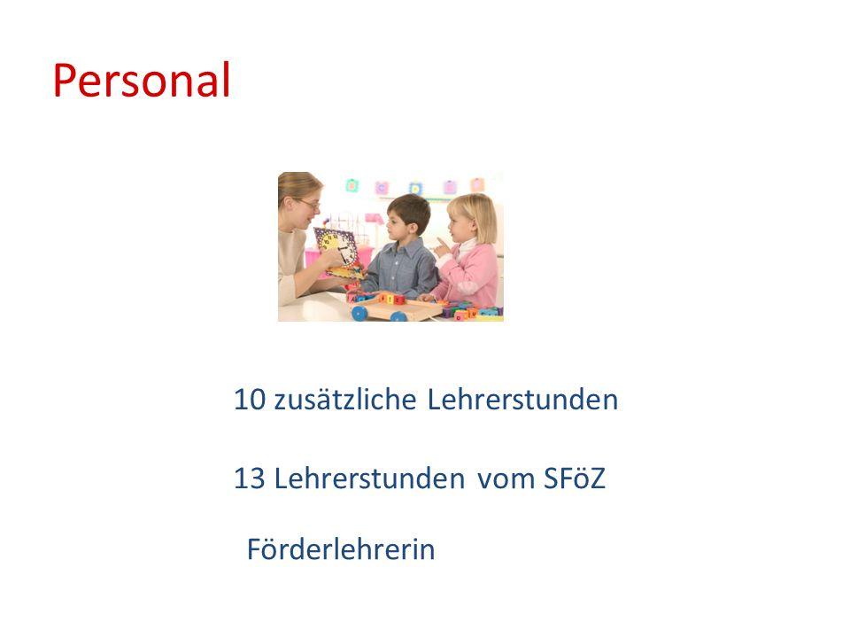Personal 10 zusätzliche Lehrerstunden 13 Lehrerstunden vom SFöZ