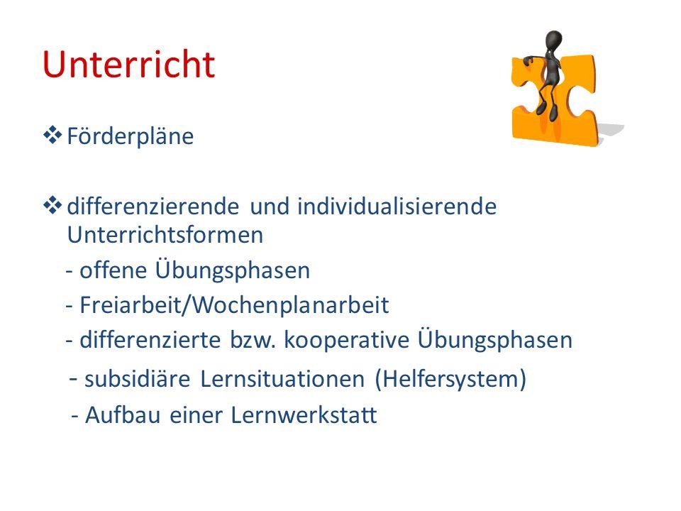 Unterricht - subsidiäre Lernsituationen (Helfersystem) Förderpläne