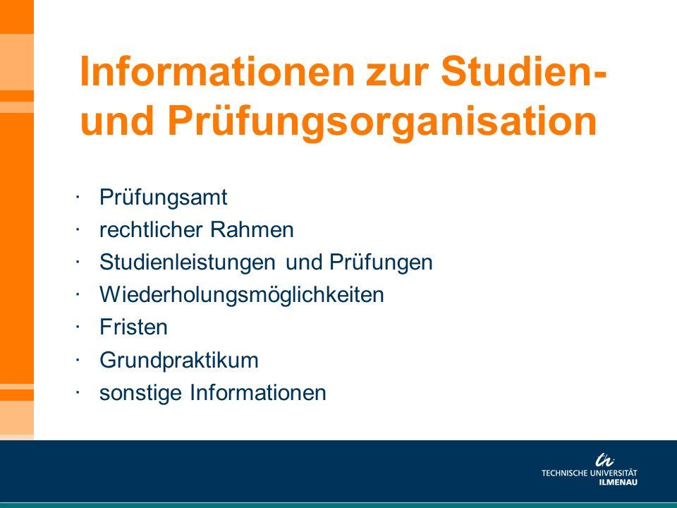 Informationen zur Studien- und Prüfungsorganisation