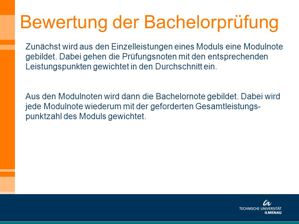 Bewertung der Bachelorprüfung