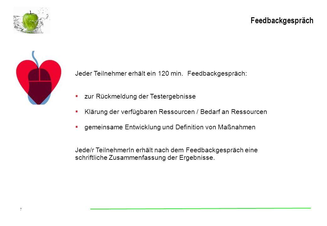 Feedbackgespräch Jeder Teilnehmer erhält ein 120 min. Feedbackgespräch: zur Rückmeldung der Testergebnisse.
