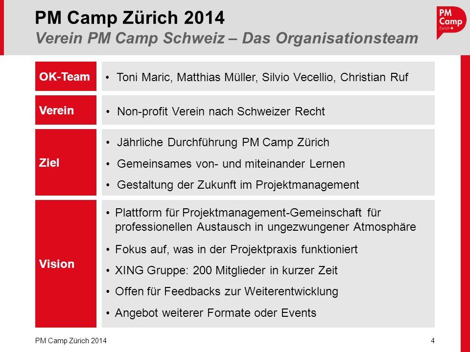 PM Camp Zürich 2014 Verein PM Camp Schweiz – Das Organisationsteam