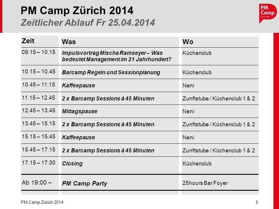 PM Camp Zürich 2014 Zeitlicher Ablauf Fr 25.04.2014