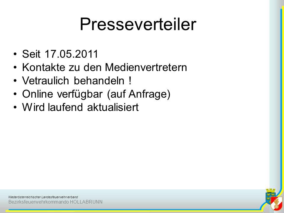 Presseverteiler Seit 17.05.2011 Kontakte zu den Medienvertretern