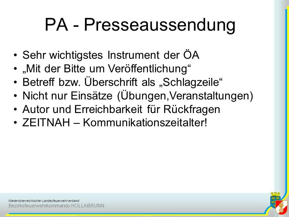 PA - Presseaussendung Sehr wichtigstes Instrument der ÖA