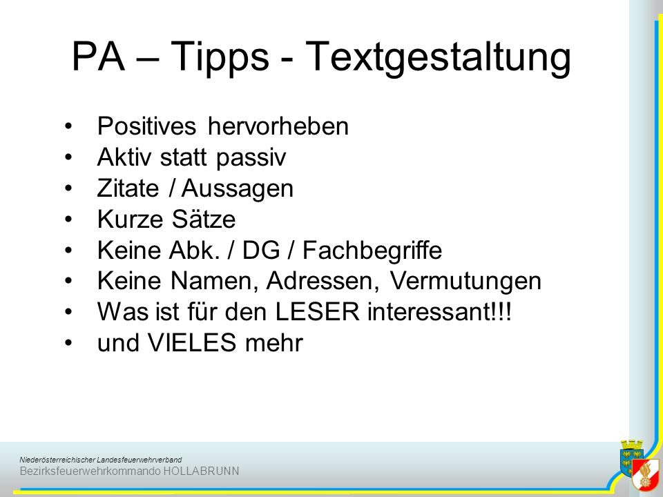 PA – Tipps - Textgestaltung