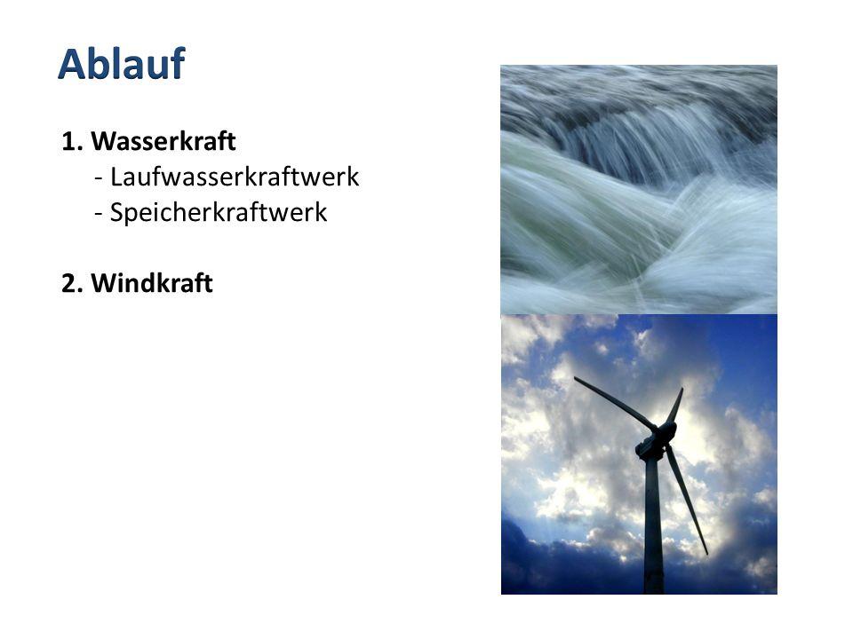 Ablauf 1. Wasserkraft - Laufwasserkraftwerk - Speicherkraftwerk