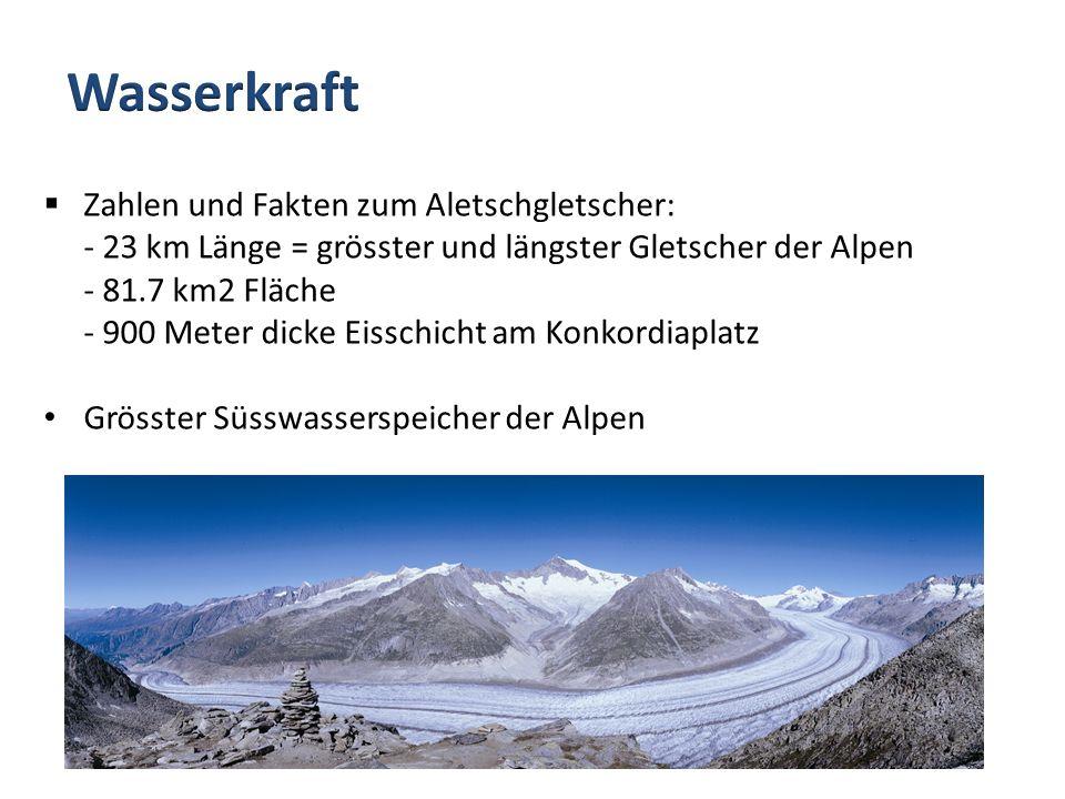 Wasserkraft Zahlen und Fakten zum Aletschgletscher: