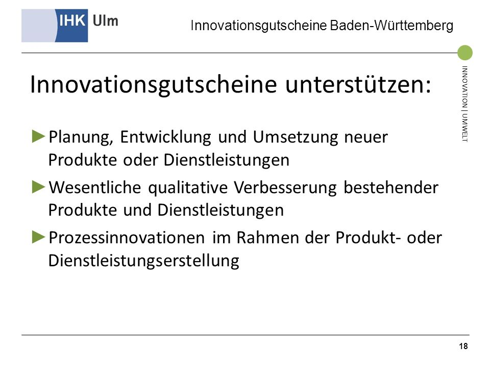 Innovationsgutscheine unterstützen: