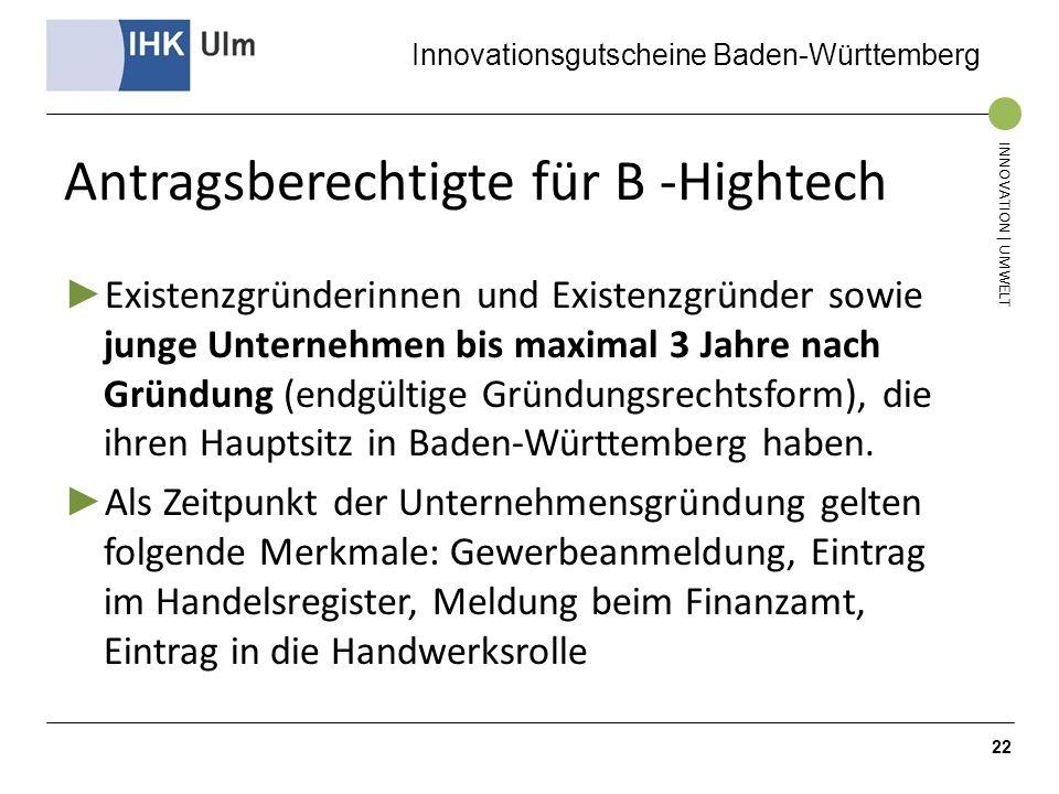 Antragsberechtigte für B -Hightech