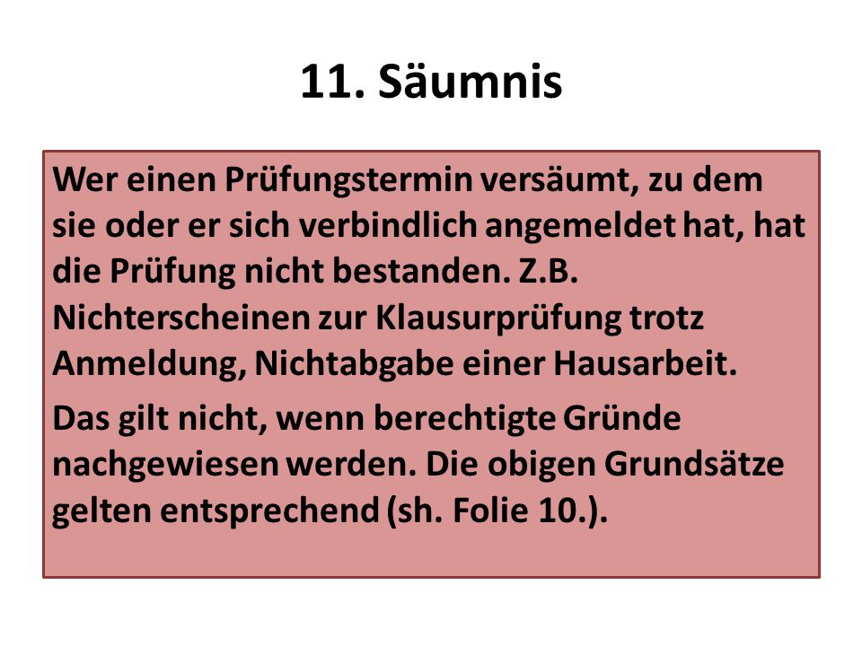 11. Säumnis