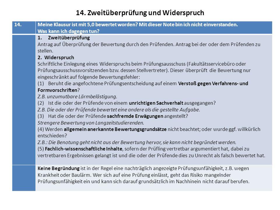 14. Zweitüberprüfung und Widerspruch