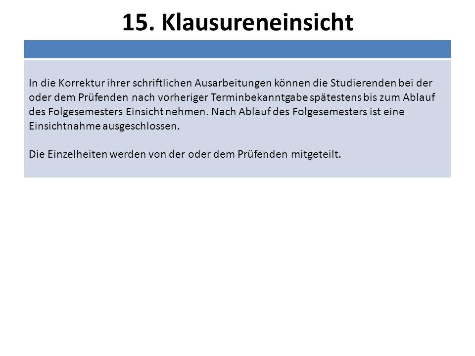 15. Klausureneinsicht