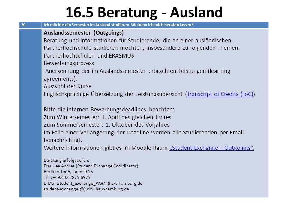 16.5 Beratung - Ausland Auslandssemester (Outgoings)