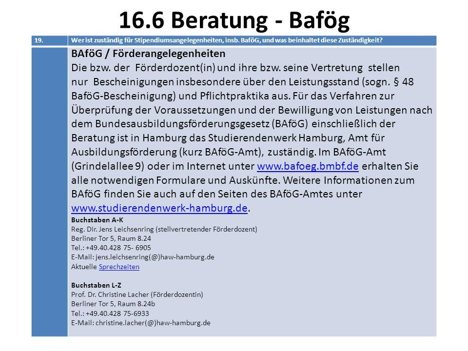16.6 Beratung - Bafög BAföG / Förderangelegenheiten