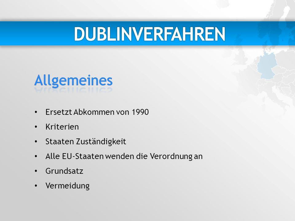 DUBLINVERFAHREN Allgemeines Ersetzt Abkommen von 1990 Kriterien