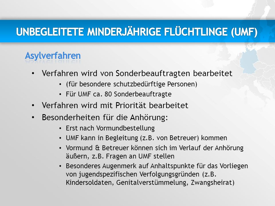 UNBEGLEITETE MINDERJÄHRIGE FLÜCHTLINGE (UMF)