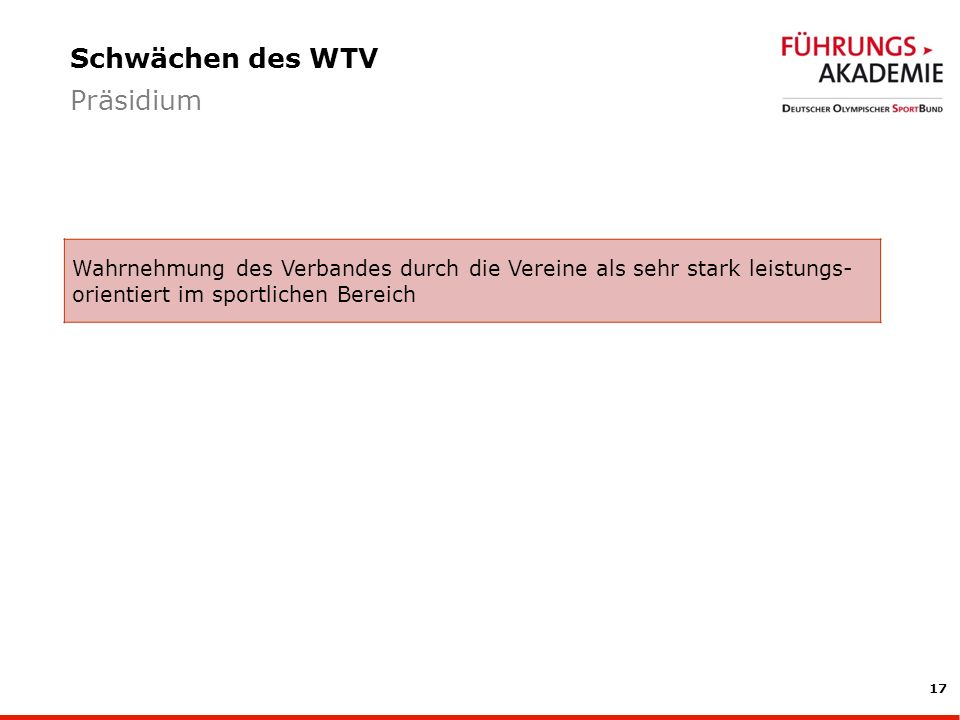 Schwächen des WTV Präsidium