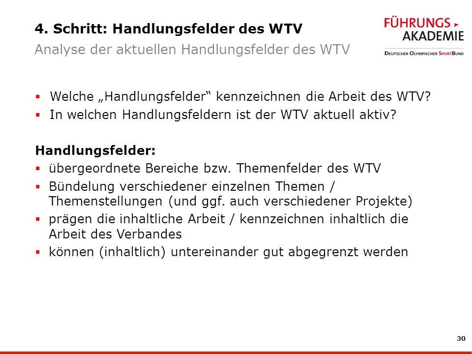 4. Schritt: Handlungsfelder des WTV