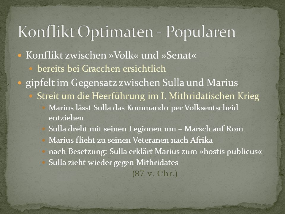 Konflikt Optimaten - Popularen