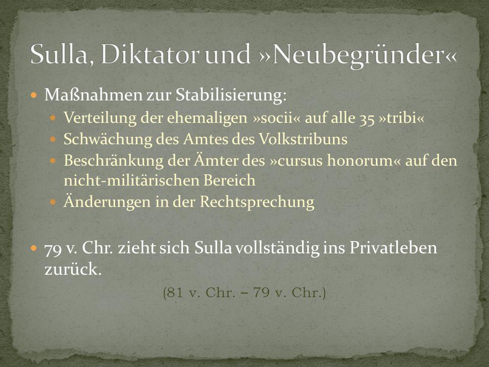Sulla, Diktator und »Neubegründer«