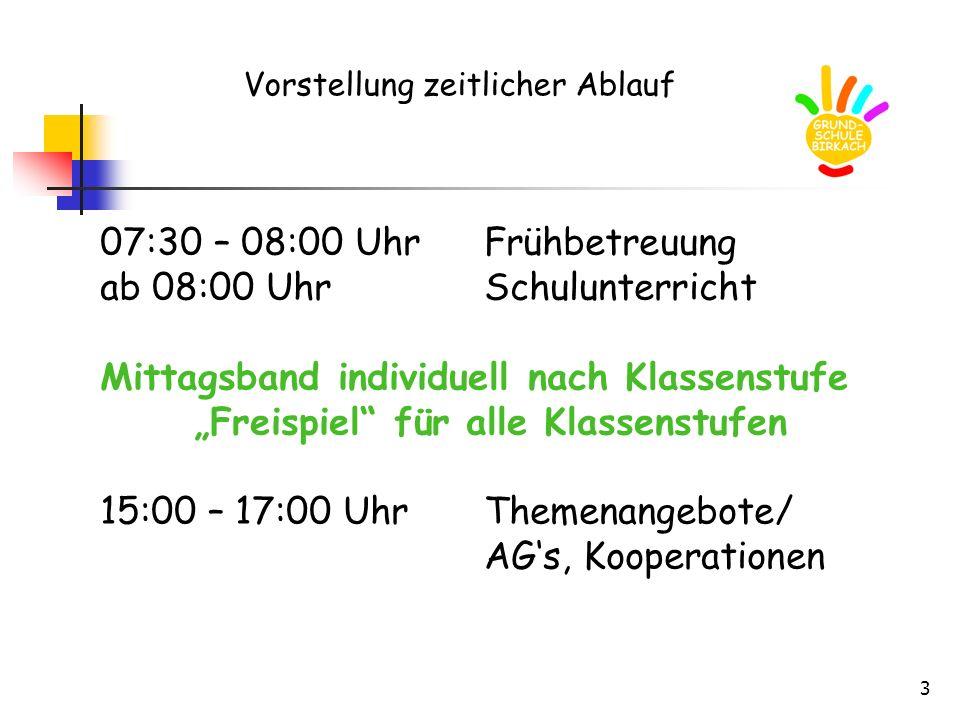 ab 08:00 Uhr Schulunterricht Mittagsband individuell nach Klassenstufe