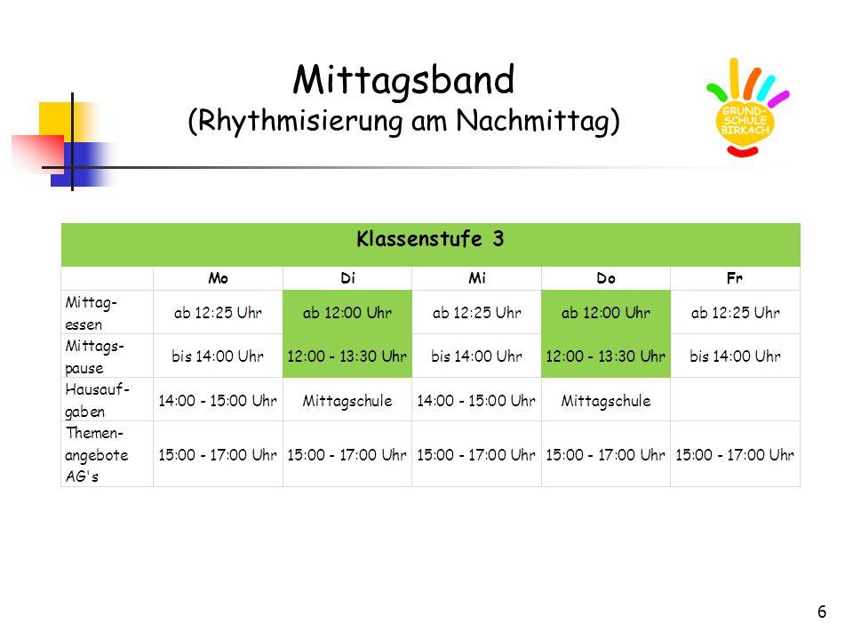 Mittagsband (Rhythmisierung am Nachmittag)