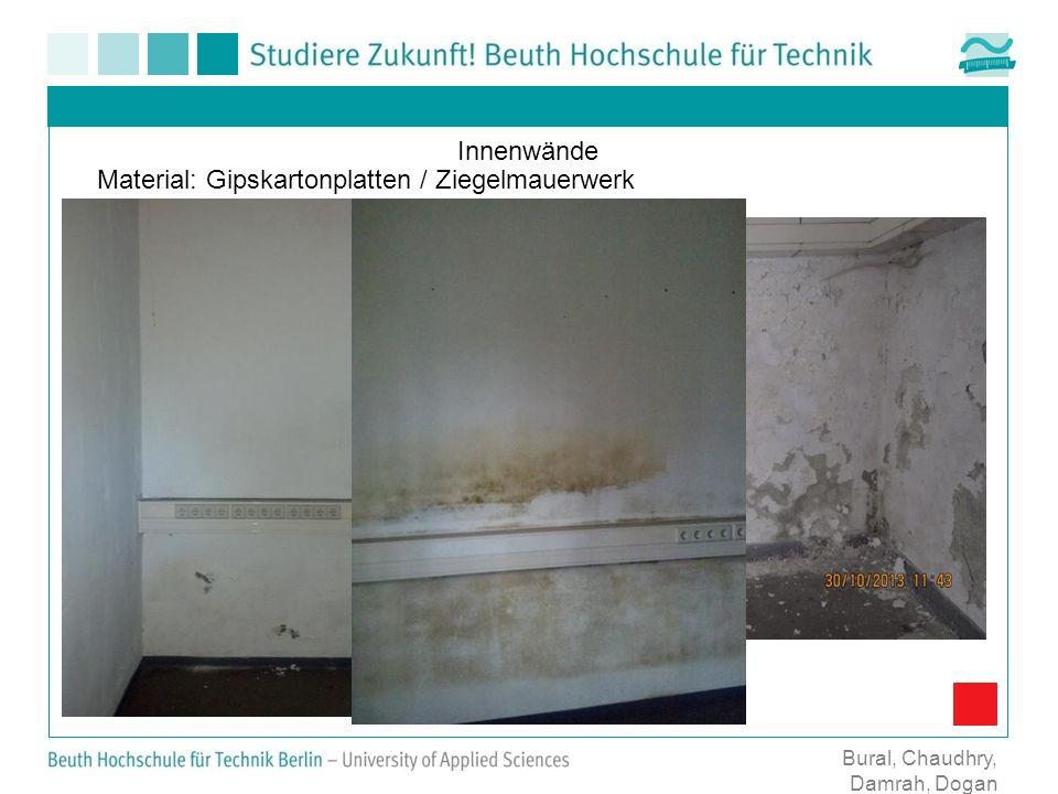 Material: Gipskartonplatten / Ziegelmauerwerk