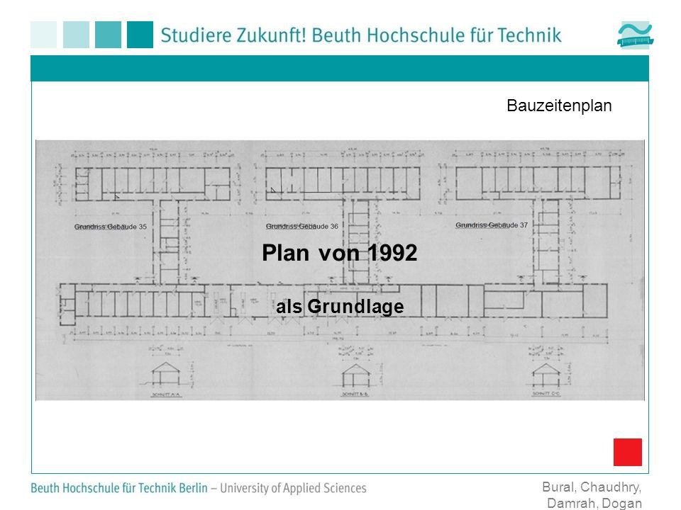 Plan von 1992 als Grundlage Bauzeitenplan