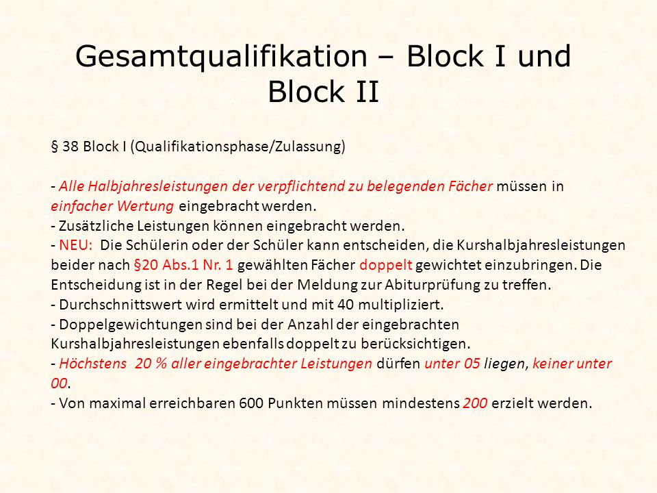 Gesamtqualifikation – Block I und Block II